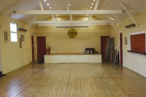 Internal shot of Thorpe Morieux Village Hall looking toward the stage